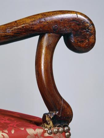 Armrest of Louis XIV Style Walnut Chair, Detail, France