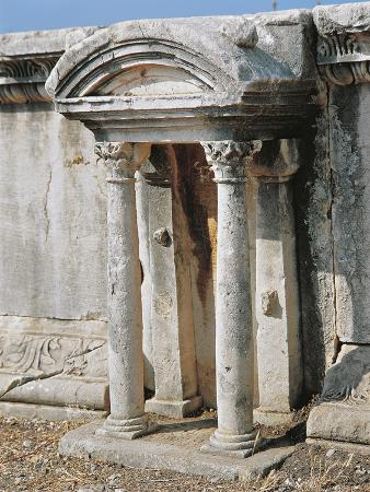 Lebanon, Byblos, Roman Theatre, Details from Small Ornamental Temple From