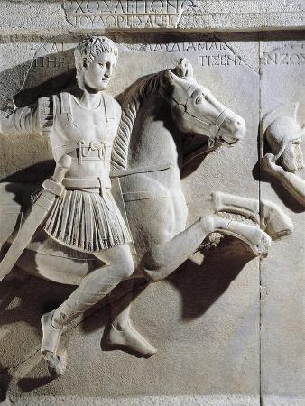Marble Sarcophagus of Prefect Tiberius Flavius Miccalus, Detail of Prefect on Horse