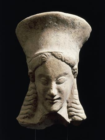 Female Head, Terracotta Votive Statue