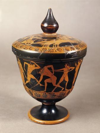 Ciborium with Lid, Depicting Scenes of Athletes Exercising