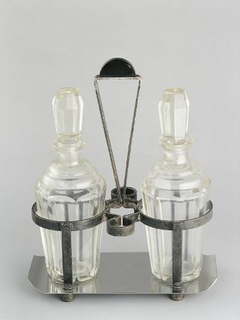 Oil and Vinegar Cruets with Silver Stand