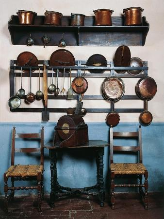 Italy, Sant Angelo Lodigiano, Morando Bolognini Castle, Kitchen with Ancient Utensils