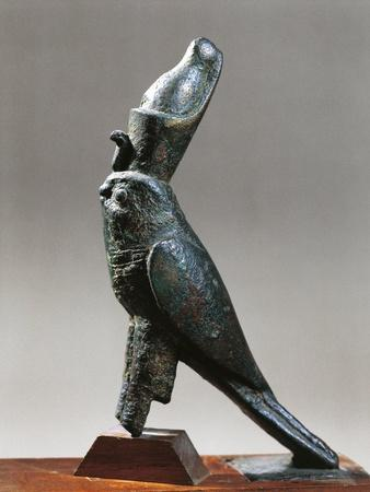 Statuette Representing the Falcon God, Horus Wearing the Double Crown, Bronze