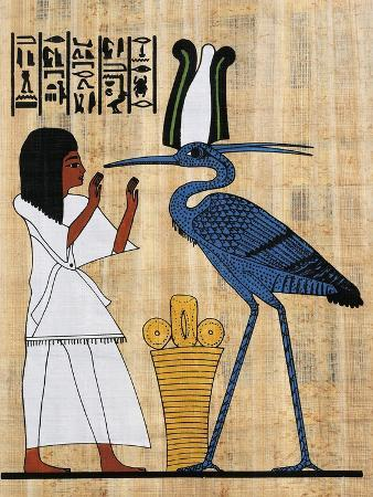 Papyrus Depicting Dead before Phoenix, Reconstruction of Mural Painting from Theban Tomb