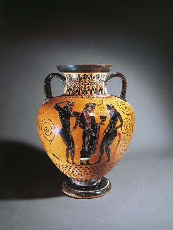Greece, Athens, Black-Figure Amphora Depicting Dionysus and Satyrs