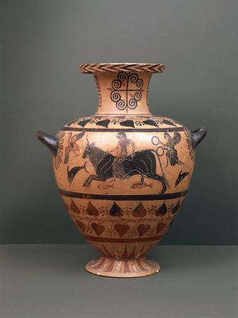 Etruscan Civilization, Black-Figure Pottery, Hydria Depicting 'The Abduction of Europe'