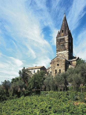 Exterior View of the Apse of San Salvatore Dei Fieschi Basilica, Cogorno, Liguria,Italy