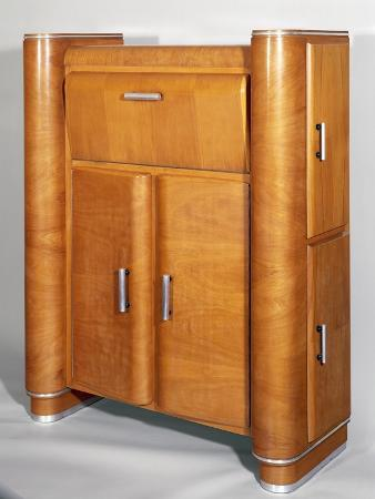 Art Deco Style Rounded Cabinet with Front and Side Doors, Italy