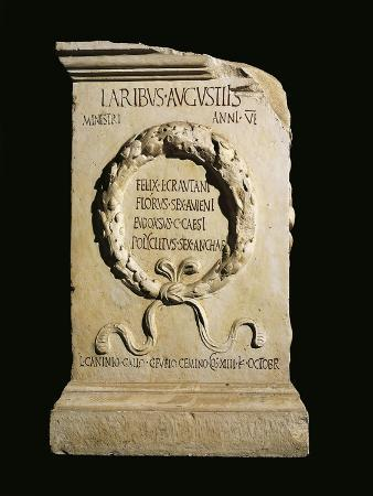 Augustan Altar of Lares, Relief with Oaken Crown and Names of Four Ministers of Vicus Stataematris