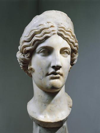 Marble Head of Hera or Juno, Copy from Greek Original by Polykleitos