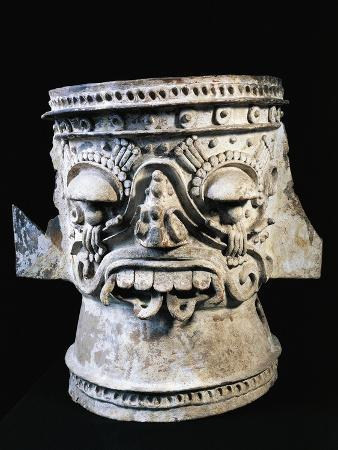 Brazier Depicting Tlaloc, Rain God, Terracotta, Aztec Civilization
