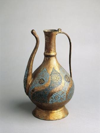 Copper Pitcher with Enameled and Engraved Decorations