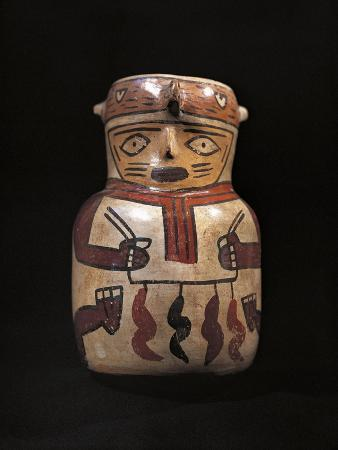 Polychrome Ceramic Anthropomorphic Shaped Vase, from Peru