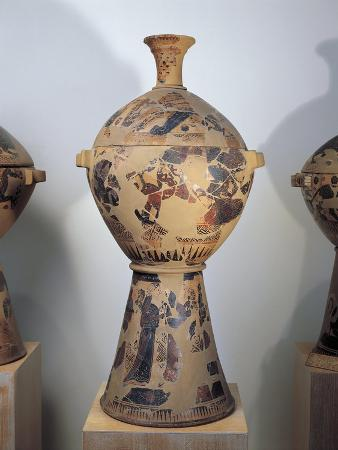Attic Krater with Lid Depicting Heracles Setting Free Prometheus from His Torment by the Eagle