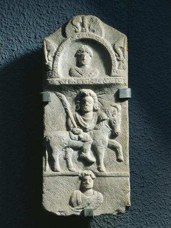 Funerary Stele Dedicated to Hoios and Dikaios with Relief Depicting Sun-God on Horse