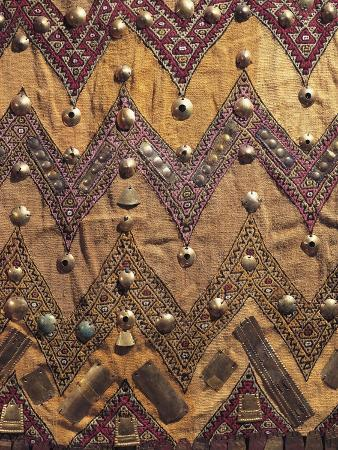 Peru, Chancay Culture. Close Up of Poncho Decorated with Gold