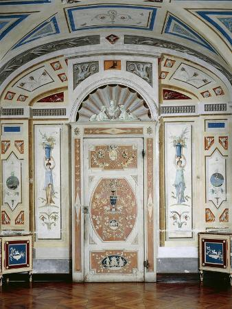 Italy, Masino Castle, Wooden Furniture, Painted in Tempera and Decorated with Rice Lozenges