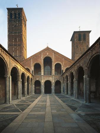 Italy, Milan, Basilica of Sant'Ambrogio, Quadrangle, Facade and Bell Towers