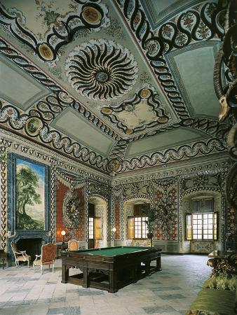 Italy, Royal Sarre Castle, Recreation Hall Decorated with Frescoes