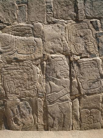 Peru, Cerro Sechin, Pre-Inca Archaeological Site, Stone Stele with Relief Depicting Massacre
