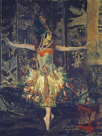 France, Paris, Painting of the Russian Dancer Tamara Karsavina in the Firebird by Igor Stravinsky