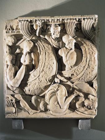 Sarcophagus Relief Depicting Naval Battle Scene