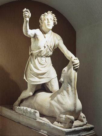 Pentelic Marble Mithra Slaying Bull, Signed by Kriton of Athens, from Mithraeum of Baths of Mithra