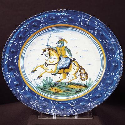 Plate with Figure of Knight, Ceramic, Dutch Manufacture, Netherlands