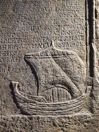 Stone Funerary Stele, Detail with Sailing Boat of Shipowner Callinicos, from Sinop, Turkey