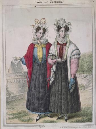 Girls Wearing Costume of Nantes, Circa 1845