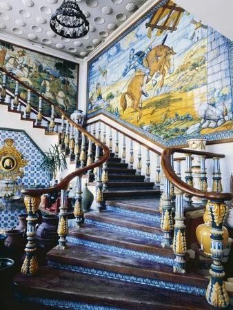 Ceramic and Azulejos Tile Staircase with Scenes from Don Quixote