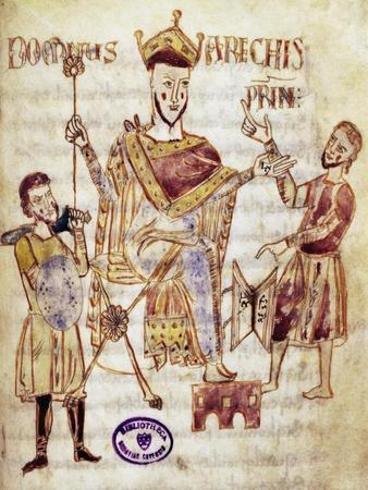 Arechi II, Lombard Prince of Benevento, Miniature from the Codex Legum Langobardorum