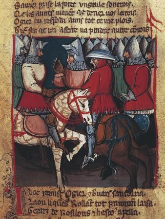 Scene Depicting Knights, Miniature from the Entree D'Espagne, Manuscript