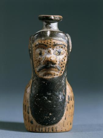 Italy, Sicily, Himera, Little Pot in the Shape of a Human Head from the Temple of Victory