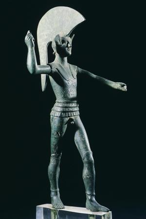 Bronze Statue Depicting Warrior Hurling Spear