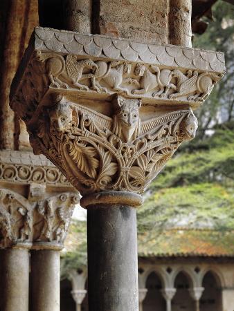 France, Moissac, Saint-Pierre Abbey, Detail of Romanesque Capitals