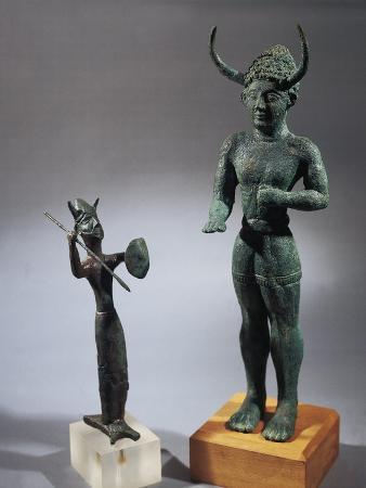 Cyprus, Bronze Statue of Horned Gods from Shrine of Enkomi