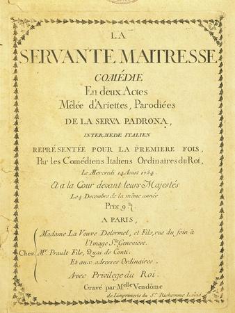 France, Paris, the Servant Mistress, Paris Edition