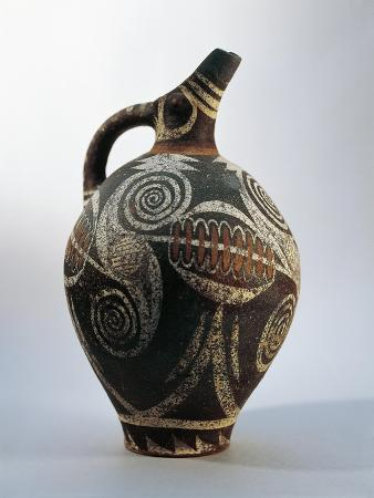 Ceramic Ewer with Oblique Spout Decorated with Spirals and Whorls