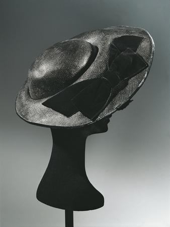 Women's Black Oriental Straw Hat, with Double Velvet Bow, Maud Roser, 1960's