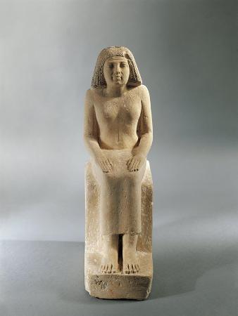 Egypt, Seated Woman, Fourth Dynasty from the Mastaba of Nefertkau at Giza, Limestone