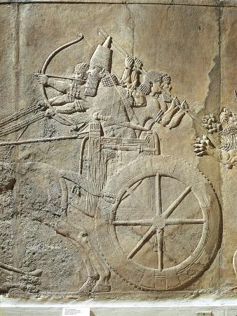Ashurbanipal Hunting, the King on His Chariot, Bas-Relief from Nineveh, Irak, Detail