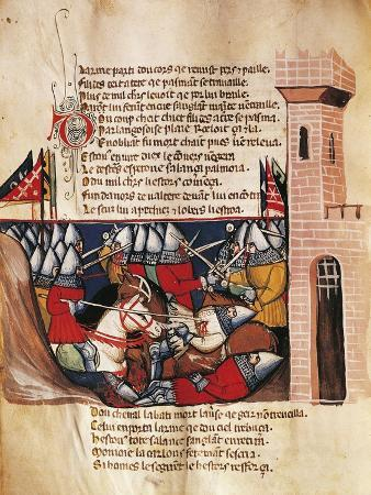 Battle Between Knights, Miniature from the Entree D'Espagne Manuscript