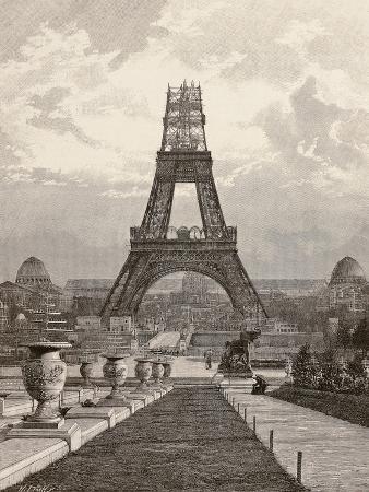 View of Eiffel Tower under Construction, Paris, 1889, France