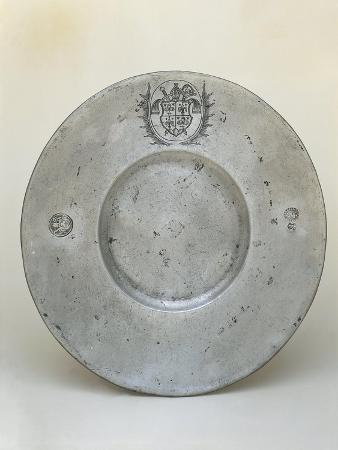 Pewter Plate with Coat of Arms of Bishop Adrian III or IV of Riedmatten