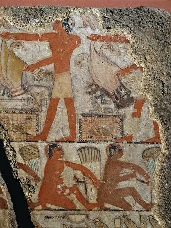 Painting Depicting Bird Hunting, from Tomb of Metchetchi at Saqqara, Detail