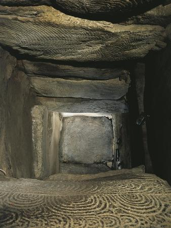 France, Brittany, Gavrinis Island, Megalithic Cairn, Interior of Megalith, Ornamented Granite Slabs