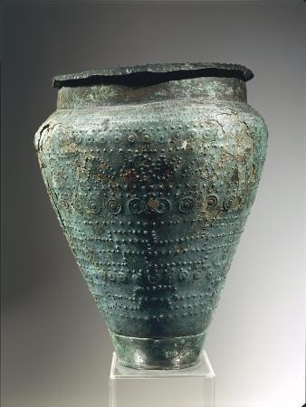 Laminated Bronze Situla with Embossed and Engraved Decoration, Used as Urn, 6th Century B.C.