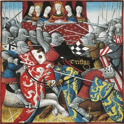 Knights Tournament, Miniature from Romance of Tristan, France 15th Century